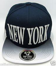 NEW YORK City Snapback Cap Hat NYC Yankees OSFM 100% Cotton Navy Blue Gray NWT