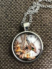 """Steampunk pic of a clock with dragon glass necklace 22"""" silver  tone gift #13"""