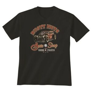 NWT Rusty Nuts T-Shirt Hot Rod Auto Shop Vintage American Classic Mens Tee Shirt