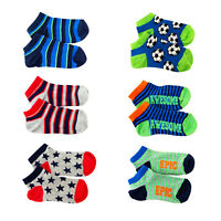 6 PAIRS BOY MIX PATTERNED CHILDREN KID COTTON COLOUR TRAINER CUTE ANKLE SOCKS