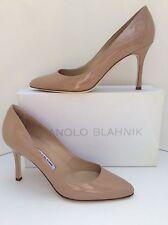 Manolo Blahnik Lisa Nude Patent Leather Almond Toe Pump Sz 40,5