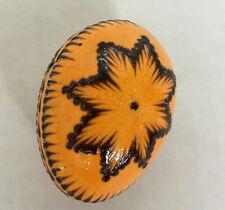 Vintage handpainted orange small Pysanky egg decorative Easter egg folk art