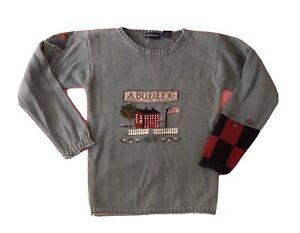 Ralph Lauren Sweater Little Girls ABC Alphabet Flag Cotton Teal 6/6X