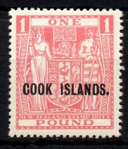 Cook Is 1936 £1 Pink Arms SG 121 MM