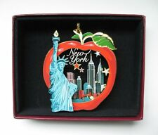 New York City Brass Ornament Big Apple Statue of Liberty Leatherette Gift Box