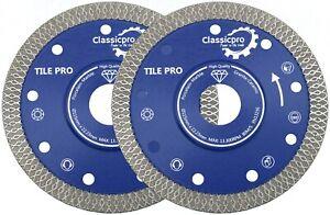"2x Porcelain Tile Turbo Diamond Dry Cutting blade/Disc Grinder wheel 115mm 4.5""."