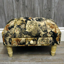 Cat Design Fabric Footstool with Drawer  Vintage Shabby Chic