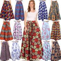 AU African Ankara Skirt Dashiki Print High Waist Pleated Beach Boho Maxi Dresses