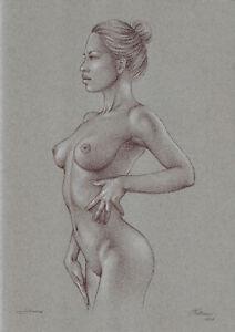 original drawing A3 517MS art samovar modern pastel female nude Signed 2021