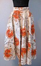 "Vintage 50's Circle Skirt 24"" Waist Sz. Felt Floral Ivory Orange #1376 H"