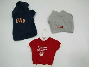 LOT of 3 Dog PET Clothes Shirts Santa Hoodie Gap Grey Red Blue  M / L