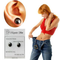 1Pair Black Magnetic Acupoint Therapy Earrings Health Weight Loss Ear Studs
