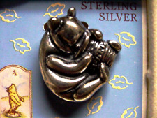 Classic Winnie The Pooh With Honeypot Sterling Silver Pin / Pendant By Van Dell