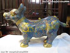 Regius 100% Pure Bronze cloisonne 24K Gold Dragon phenix OX Beast God Statue