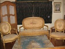 LOUIS XVI STLYE SALON SUITE COMPOSED OF SETTEE AND 4 CHAIRS/ORIGINAL ABUSSON