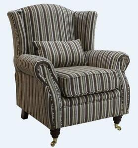 Ashley Wing Chair Fireside High Back Armchair Fantasia Stripe Cocoa Brown Fabric
