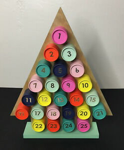 Wooden Christmas Tree Shaped Advent Countdown Calendar 25 Round Fillable Boxes