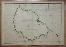 APRES DE MANNEVILETTE 1775 MAURITIUS ISLAND VERY LARGE ANTIQUE MAP IN COLORS