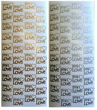 WITH LOVE Peel Off Stickers Hearts Wedding Romance Sentiments Gold or Silver