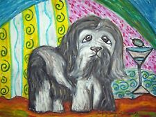 Havanese Drinking a Martini Dog Pop Outsider Vintage Art 8 x 10 Signed Print