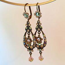 NWOT Genuine Michal Negrin Swaroski Crystal Drop Dangle Flower Earrings