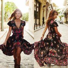 vestido largo bohemio Summer Vintage Boho Printed Long Maxi Beach Dress Sundress