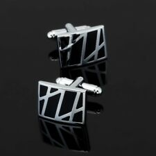 Rectangle Design Black and Silver Cufflinks Business Wedding Gift Formal