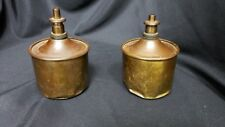 RARE PAIR VINTAGE GERMAN OIL LAMPS- COPPER/BRASS - MADE IN GERMANY GREAT PATINA
