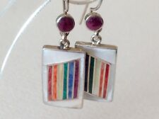 Vintage Native American High Grade 950 Silver Earrings Lapis Coral Turquoise