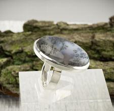 Dendriten Opal Ring Sterlingsilber/925 Cabochon Weiss Schwarz Grösse 59(18,8 mm)