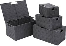 Woven Storage Baskets Boxes Bins with Lids Strap Nylon Bin Built-in Carry Handle
