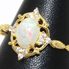 Oval White Opal Ring Women Birthday Jewelry 14K Yellow Gold Plated Size 6 to 9