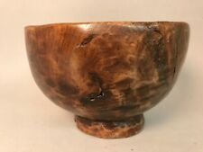 Antique Primitive Hand Carved Wood Bowl with Base One piece Wooden Japan
