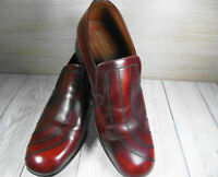 VINTAGE SAVILE ROW BROWN LEATHER SLIP ON SHOES SIZE 9 UK STYLE 713 6-568 923-25