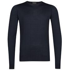John Smedley Men's Standard Fit Merino Wool Crew Neck Lundy Jumper Midnight XL