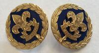 Vintage Rare BSA Boy Scouts Council Past President Pins - Brass With Blue Enamel
