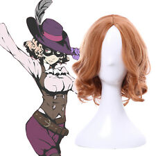 Persona5 P5 Haru Okumura Orange Brown Medium Long Wavy Cosplay Wig Hair US Stock