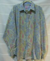 Brooklyn Xpress Men's Size XL Paisley Shirt Long Sleeve Flip Cuff Light Blue EUC