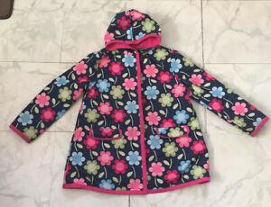 GYMBOREE Girls M 7-8 Polyester & Cotton Lined Rain Coat Raincoat Jacket Flowers