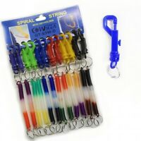 Spiral Spring Key Coil Chain Retractable Stretch Keyring String Keys Chain Hook