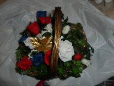 FLOWER BASKET GOLD & RED & BLUE & WHITE WEDDING