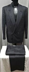 Size 102 R MELCROSS mens double breasted wool grey suit stripe pleats cuffed