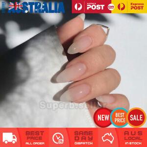 24pc Clear White Oval Medium Fake Nail Tips Glue On False Press On Artificial AU