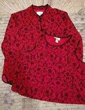 Susan Graver Blazer Jacket & TANK SET Size M Red Black Flocked Print -a1