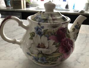Vintage Teapot Sadler England Floral Pink Rose Flowers — BEAUTIFUL