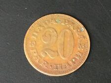 1965 Yugoslavia 20 Para Brass Coin
