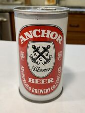 Anchor Pilsener Straight Steel Pull Tab Beer Can - Empty, bottom opened
