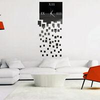 Ee _ Eg _ Moderno Bricolaje Romano Números Analógico Espejo Cuadrado Pared Reloj