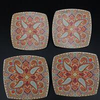"222 FIFTH Resplendent Spring Pattern -Set of 4- 6"" Square plates"