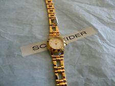 Premier Designs SANDRA yellow gold link watch w/new battery RV $68 FREE ship
